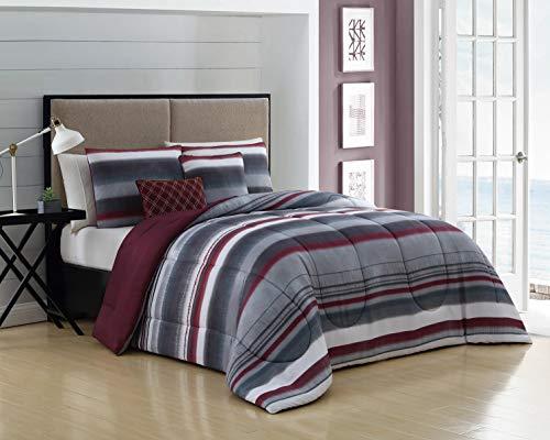 Geneva Home Fashion Montara 5pc Reversible Throw Pillows Comforter Set, King, ()
