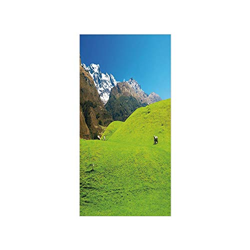 3D Decorative Film Privacy Window Film No Glue,Nature,Idyllic Hills Mountain Land Farm New Zealand Snowy Peaks Spring Landscape,Lime Green Brown Blue,for Home&Office