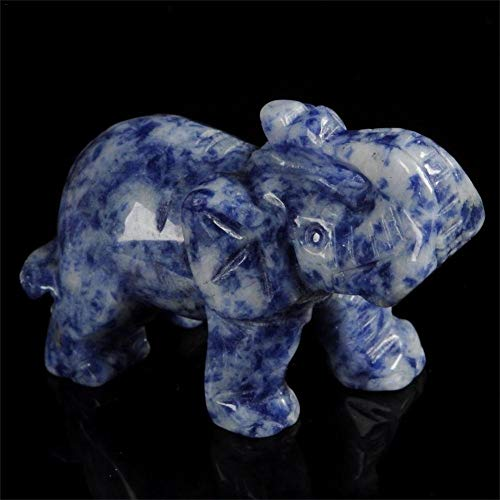 Cheng-store Marble Statue Carved Elephant Sculpture Fortune Drawing Decoration Jade Stone Handicraft ()