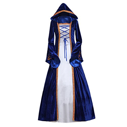 CosplayDiy Women's Rococo Ball Gown Gothic Medieval Blue Dress Costume XXXL by CosplayDiy