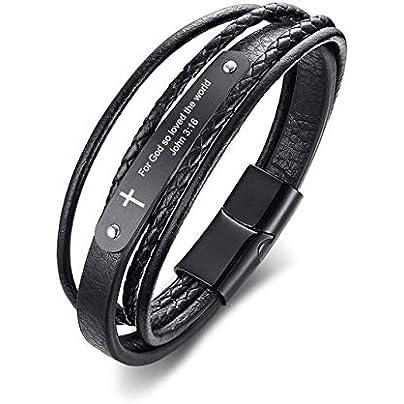 ZUOZUO Leather Wristband Men S Black Inspirational Wristband Cross Wrap Bracelet Bracelet Customized Accessories Estimated Price £31.99 -