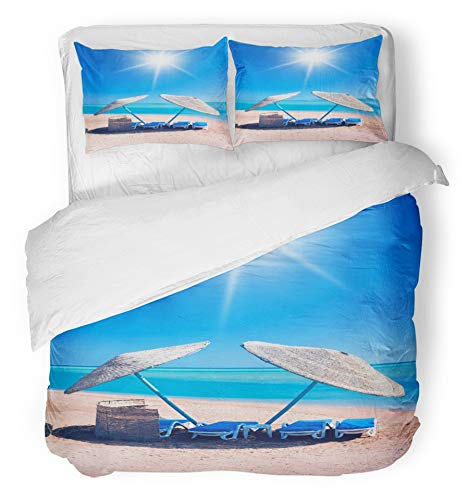 Emvency 3 Piece Duvet Cover Set Breathable Brushed Microfiber Fabric Blue Beautiful Beach Shelter Summer Sea Cloudscape Coast Couch Cove Extreme Hawaii Bedding Set with 2 Pillow Covers Twin Size by Emvency