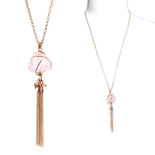 Rosemarie Collections Femme Rose à quartz Pendentif Pompon Long collier