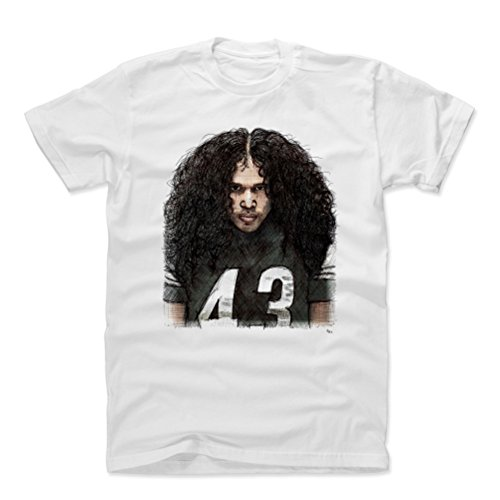 - 500 LEVEL Troy Polamalu Cotton Shirt Large White - Vintage Pittsburgh Football Men's Apparel - Troy Polamalu Sketch K