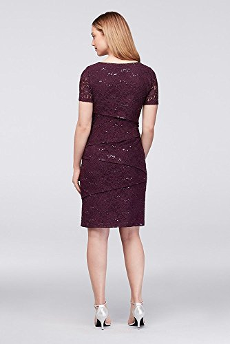 Sheath Short Lace Bride Asymmetric Dress Style Groom Eggplant Sleeve Mother Tiered qpwpIS