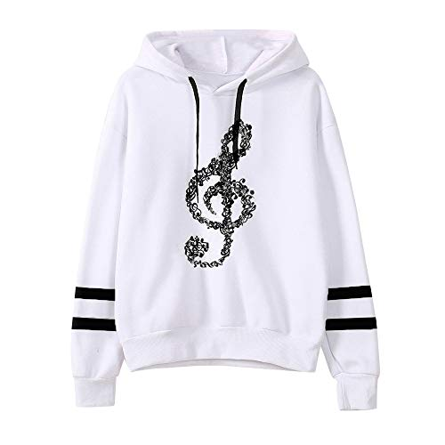 (Red Ta Women Autumn Winter Long Sleeve Striped Top Blouse,Ladies Casual Musical Note Print Hooded Pullover Sweatshirt)