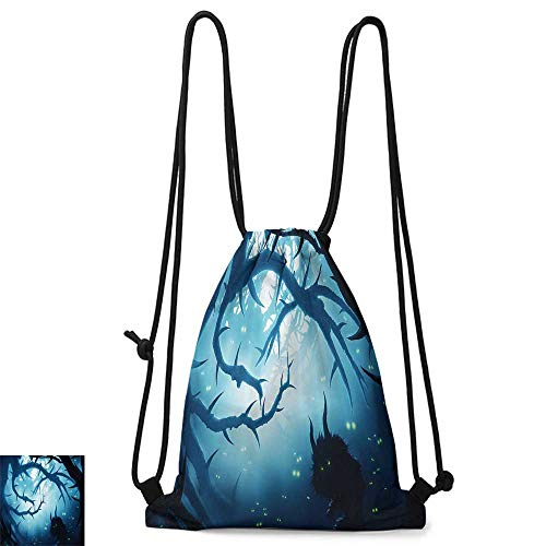Yoga backpack Mystic House Decor Animal with Burning Eyes in Dark Forest at Night Horror Halloween Illustration W14