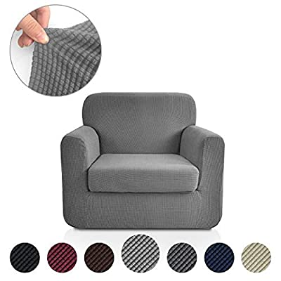 Rose Home Fashion RHF Jacquard Stretch 2-Piece Sofa Cover, 2-Piece Slipcover for Leather Couch-Polyester Spandex Sofa Slipcover&Couch Cover for Dogs, 2-Piece Sofa Protector(Chair: Dark Grey)