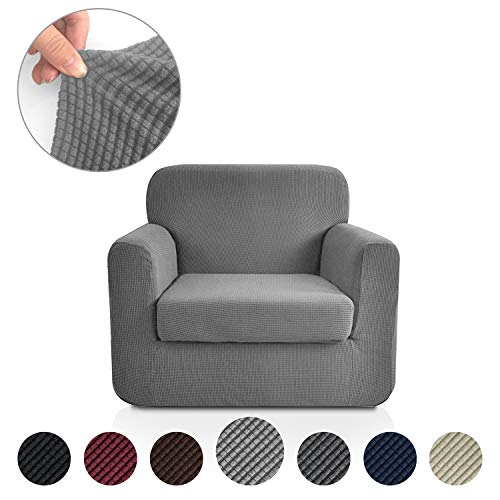 Rose Home Fashion Jacquard Stretch 2 Separate Pieces Chair Cover, Chair Slipcover with Separate Cushion Cover Couch-Polyester Spandex Sofa Slipcover&Couch Cover for Dogs(Chair: Light Grey) (2 Piece Chair Slipcovers)
