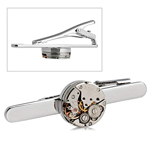 LingStore Fashion Steampunk Men's Tie Clip Vintage Watch Movement Tie Clasp Tack Silver -m15 from LingStore
