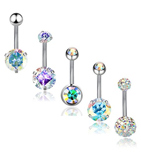 REVOLIA 5Pcs 14G Stainless Steel Belly Button Rings for Women Girls Navel Rings CZ Body Piercing ()