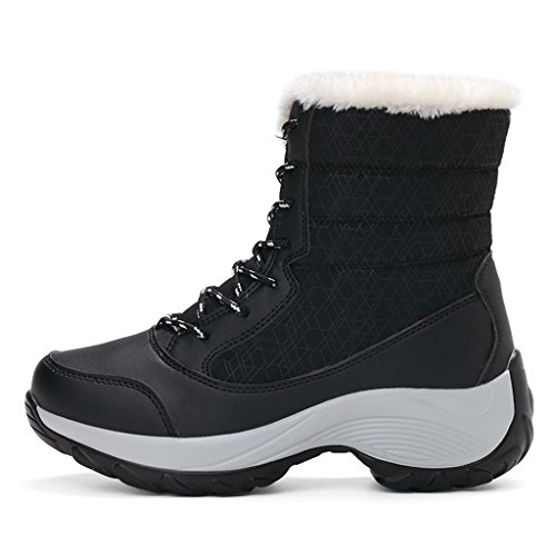 Snow Lining JACKSHIBO Waterproof Ankle Fur Black Boots winter Boots Women's Cqq0XwaO