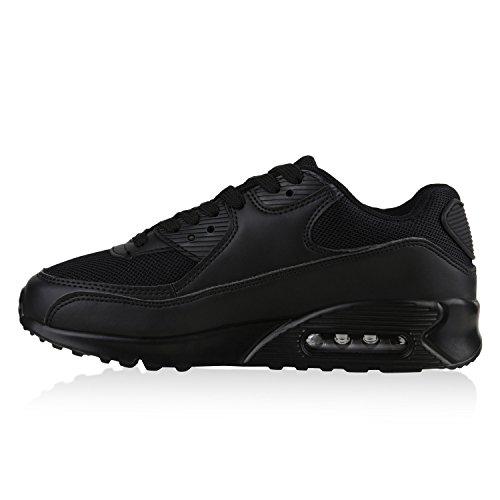 Stiefelparadies Damen Sportschuhe Modische Laufschuhe Sneakers Low Runners Trainers Leder-Optik Stoffmix Schuhe Profilsohle Bunte Freizeitschuhe Flandell Schwarz