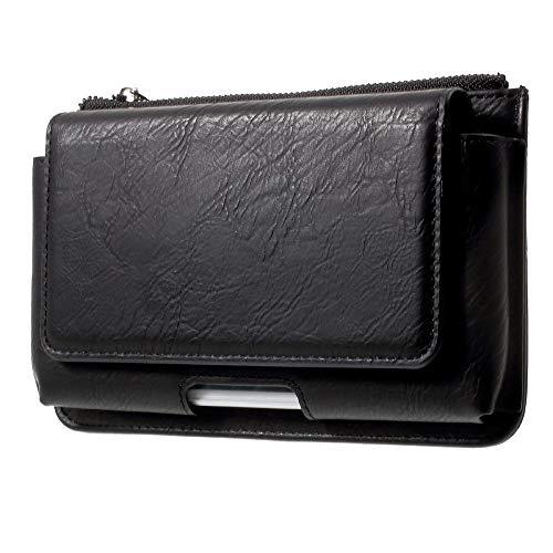 DFV mobile - Cover Horizontal Belt Case with Phone Holder Pouch & Inner Pocket with Zipper for => BlackBerry PRIV (Rim Venice) > Black