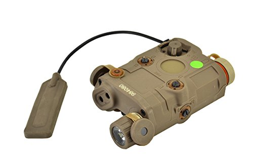 BRAVO AIRSOFT PEQ-15 Flashlight and Green Laser Combo with Pressure Pad in FDE