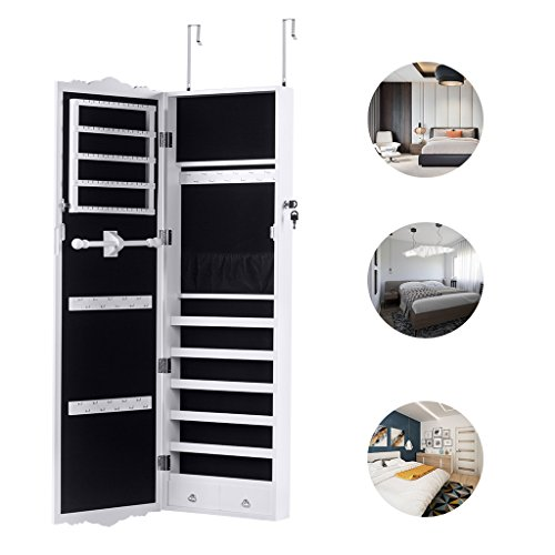 LANGRIA Full-Length Lockable Wall-Mounted Over-the-Door Hanging Jewelry Cabinet Armoire and Accessories Storage Organizer with 2 Drawers Carved Design and 3 Adjustable Heights (White) by LANGRIA (Image #3)