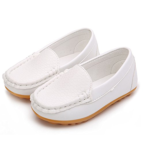 Pictures of LONSOEN Toddler/Little Kid Boys Girls Soft Split Leather Loafer Slip-On Boat-Dress Shoes/Sneakers,White,11 M US Little Kid 5