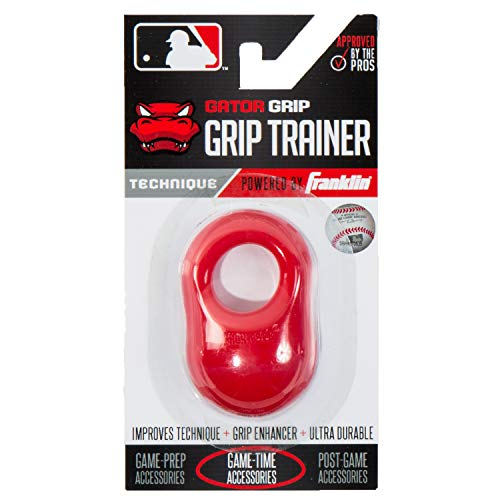 Franklin Sports Baseball Bat Swing Trainer - Gator Grip Grip Trainer - Baseball and Softball Hitting Aid - Knuckle Aligner and Swing Trainer - Red