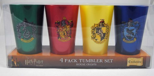 Harry Potter Triwizard Cup - Wizarding World of Harry Potter House Tumbler Cup Set 4 Cups by Universal Studios,1 green, 1 red, 1 yellow & 1 Blue