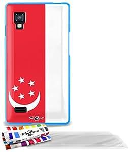 """Carcasa Flexible Ultra-Slim LG OPTIMUS L9 de exclusivo motivo [Bandera Singapur] [Azul] de MUZZANO  + 3 Pelliculas de Pantalla """"UltraClear"""" + ESTILETE y PAÑO MUZZANO REGALADOS - La Protección Antigolpes ULTIMA, ELEGANTE Y DURADERA para su LG OPTIMUS L9"""