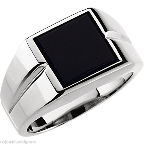 (US Jewels And Gems New Men's 0.925 Sterling Silver Genuine Black Onyx Open Back Ring)