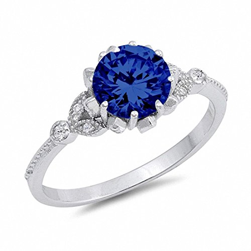 Art Deco Design Fashion Ring Simulated Round Blue Sapphire 925 Sterling Silver,Size-11