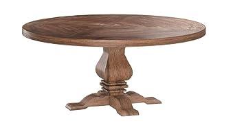 Florence Round Pedestal Dining Table Rustic Smoke