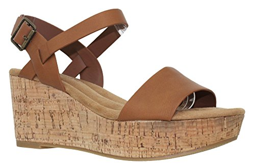 MVE Shoes Women's Comfort Open Toe Ankle Strap P;atform Wedge, Tan PU Size 7.5