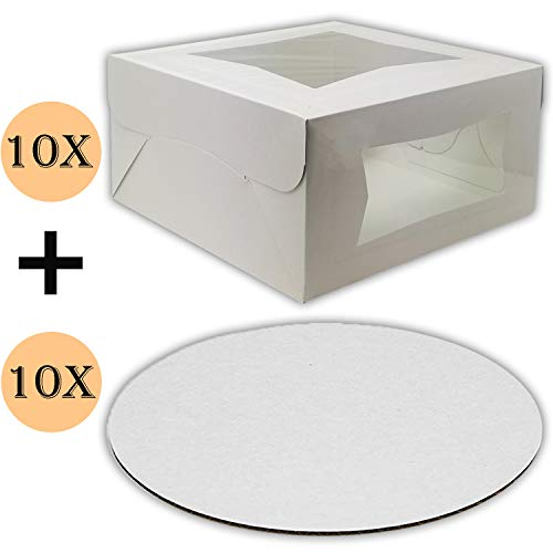 Cake Boxes 12 x 12 x 5 and Cake Boards 12 Inch, Bakery Box Has Double Window, Cake Board is Round, Cake Supplies, 10 Pack of Each.