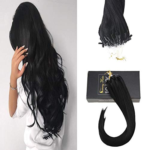 Sunny Micro Ring Human Hair Extensions,16inch Micro Loop Hair Extensions Human Hair Black(#1 Jet Black) 1g/strand 40g+10g for Free,50g in Total