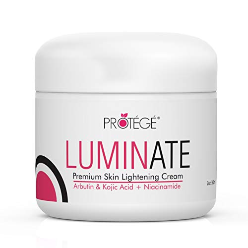 Skin Lightening Cream - PROTÉGÉ Luminate- 100% Natural Skin Bleaching for Underarm, Body, Face, Intimate and Sensitive Areas - Whitening with Arbutin + Kojic Acid + Niacinamide for Women and Men (2oz)