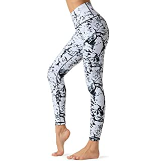 Dragon Fit Compression Yoga Pants with Inner Pockets in High Waist Athletic Pants Tummy Control Power Stretch Workout Yoga Leggings (Small, Marble-2 Inner Pockets)