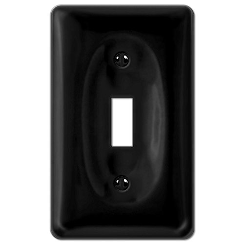 Black Porcelain Single Toggle Switch Plate
