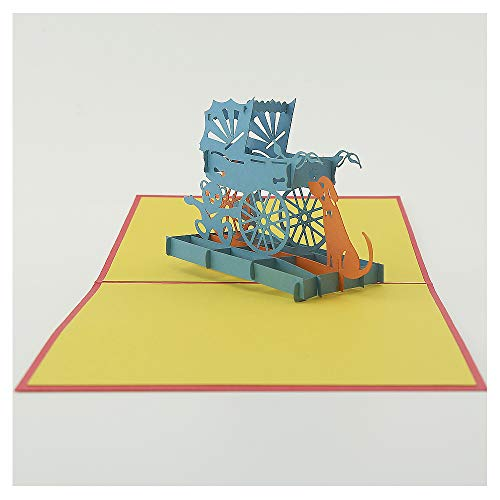Anniversary Card- Children trolley 2- Pop up Card, Greeting Card 3D Card, Birthday Card Unique 3D Gift Card For Your Chirld, Your -