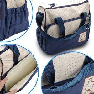 Set 5 kits Bolsa de Mama Para Bebe Biberon Bolso/Bolsa/Bolsillo Maternal Bebé para carro carrito biberón colchoneta comida pañal de color marrón azul