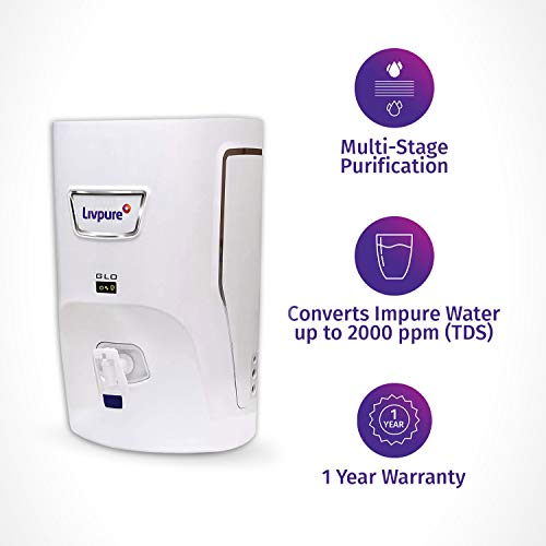 Livpure Glo 7 litres RO+UV+ Mineralizer water purifier, White