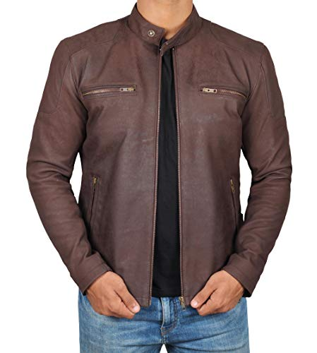 Decrum Distressed Brown Leather Jacket Mens - Lambskin Leather Jackets & Coat for Men