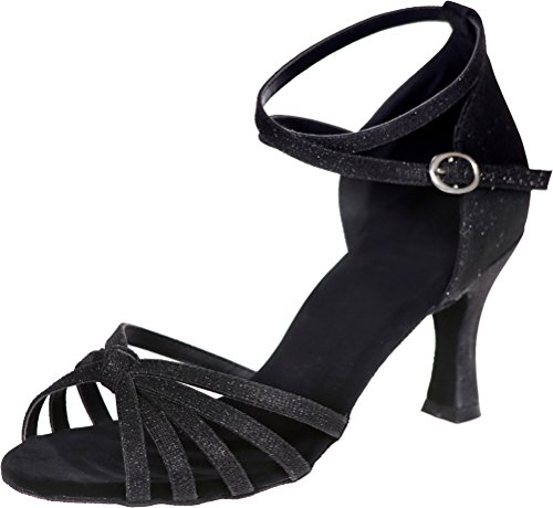 Latin Black Cha Cha Wedding Straps Party Ballroom Ladies Ankle Practice Sole Practice Swing Dance 3IN Glitter Toe Sudue CFP Comfort PU Beginner Tango Shoes Peep wS8qwI4KO