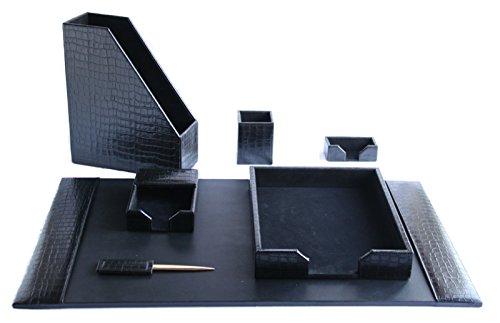 Negro con relieve de piel de cocodrilo hecho a mano Real Cuero siete pieza juego de escritorio por Zale Yardley UK