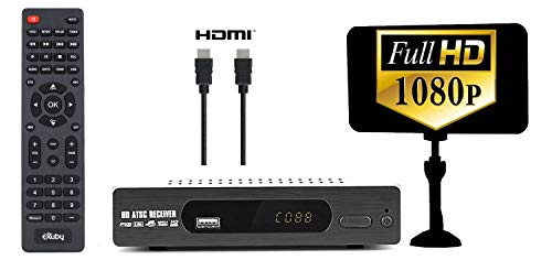 - Digital Converter Box for TV + Flat Antenna + HDMI Cable for Recording & Viewing Full HD Digital Channels Free (Instant & Scheduled Recording, 1080P, HDMI Output, 7Day Program Guide & LCD Screen)