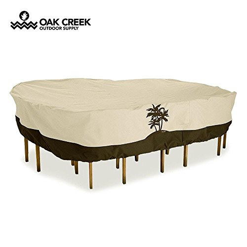 Oak Creek Premium Outdoor Furniture Cover | Patio Table Cover with Air Vents, Click-Close Straps, Elastic Hem Cord | Made of Heavy Duty Waterproof Fabric with PVC Coating | Palm Tree Design by Oak Creek Outdoor Supply