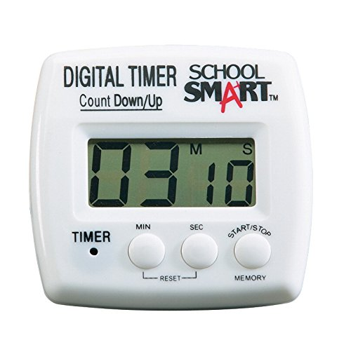 School Smart Count up/Count Down Timer, Digital, (1) AAA Battery, 3 x 3 x 1 -