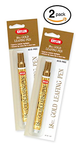 18 Kt. Krylon Gold Leafing Pen Marker Provides Beautiful Highlights For Art, Craft And Home Projects! (Pkg/2) Gold Highlights Finish
