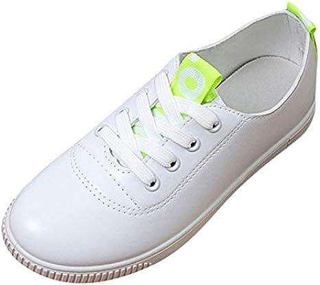 Zapatillas Blancas Mujer Zapatos Planos de Ocio para Mujer Corbata ...