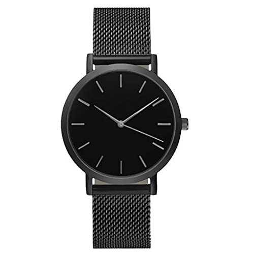 FAPIZI Mens Womens Ultra Thin Watch Minimalist Luxury Fashion Business Dress Casual Waterproof Quartz Wrist Watch for Man Woman with Rose Gold Stainless Steel Mesh Band (Black-1)