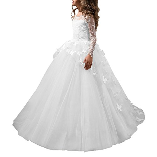 (HuaMei Princess Flower Girl Butterfly Long Sleeve Kids Pageant Dresses 4 US White)