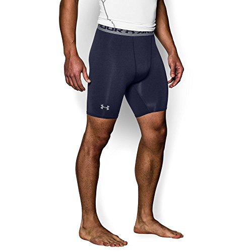 Under Armour Men's HeatGear Armour Compression Shorts – Mid, Midnight Navy/Steel, Medium