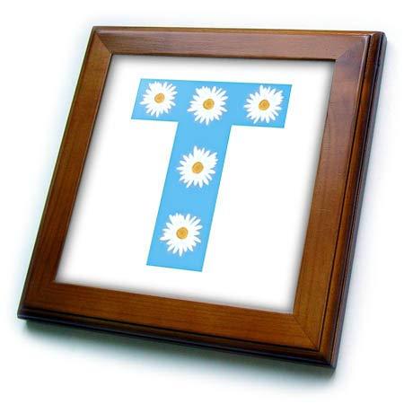 Framed Tile Sky - 3dRose CherylsArt Monograms - Painting of White Daisy Flowers on Sky Blue Monogram Letter T - 8x8 Framed Tile (ft_315639_1)