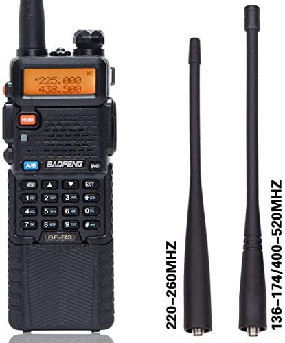 BaoFeng BF-R3 Tri-Band 136-174 220-260 400-520Mhz with 2 Antennas 3800mAh Battery Amatuer Portable UV-5R Transmitter Two Way Radio