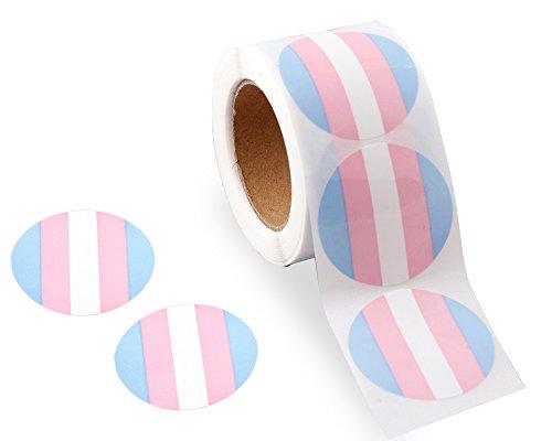 Gay Pride - Transgender Pride Circle Stickers (1 Roll - 250 Stickers)